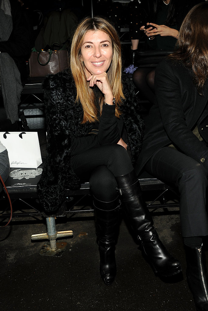 Nina Garcia went black on black in a fur topper and leather boots at 3.1 Phillip Lim.