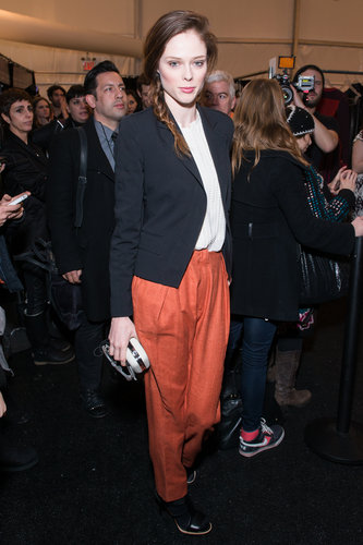 Coco Rocha brightened up a casual look with tapered orange trousers at the Diane von Furstenberg show.