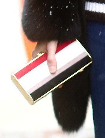 We love the bold colorblock detail and luxe gold trim on this structured clutch.