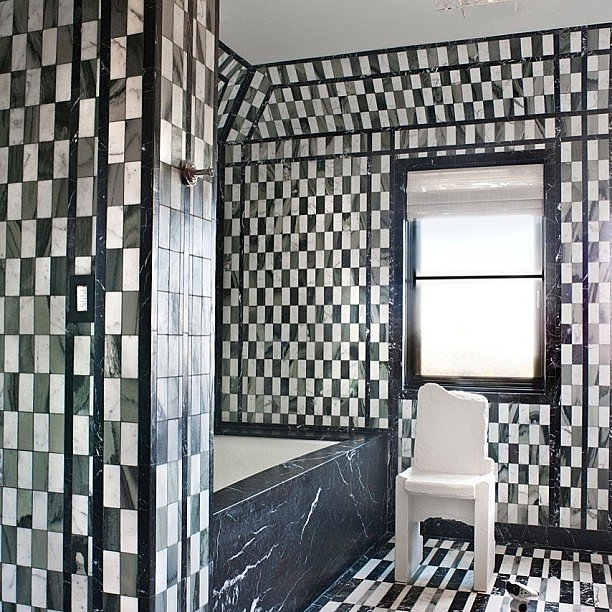 A black-and-white tiled bathroom.