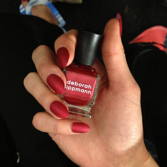 Deborah Lippmann debuted one of the shades from her new Holiday 2013 collection, Red Silk Boxers. The red metallic shade dries matte for a silk-like finish that added to the feeling of luxury.