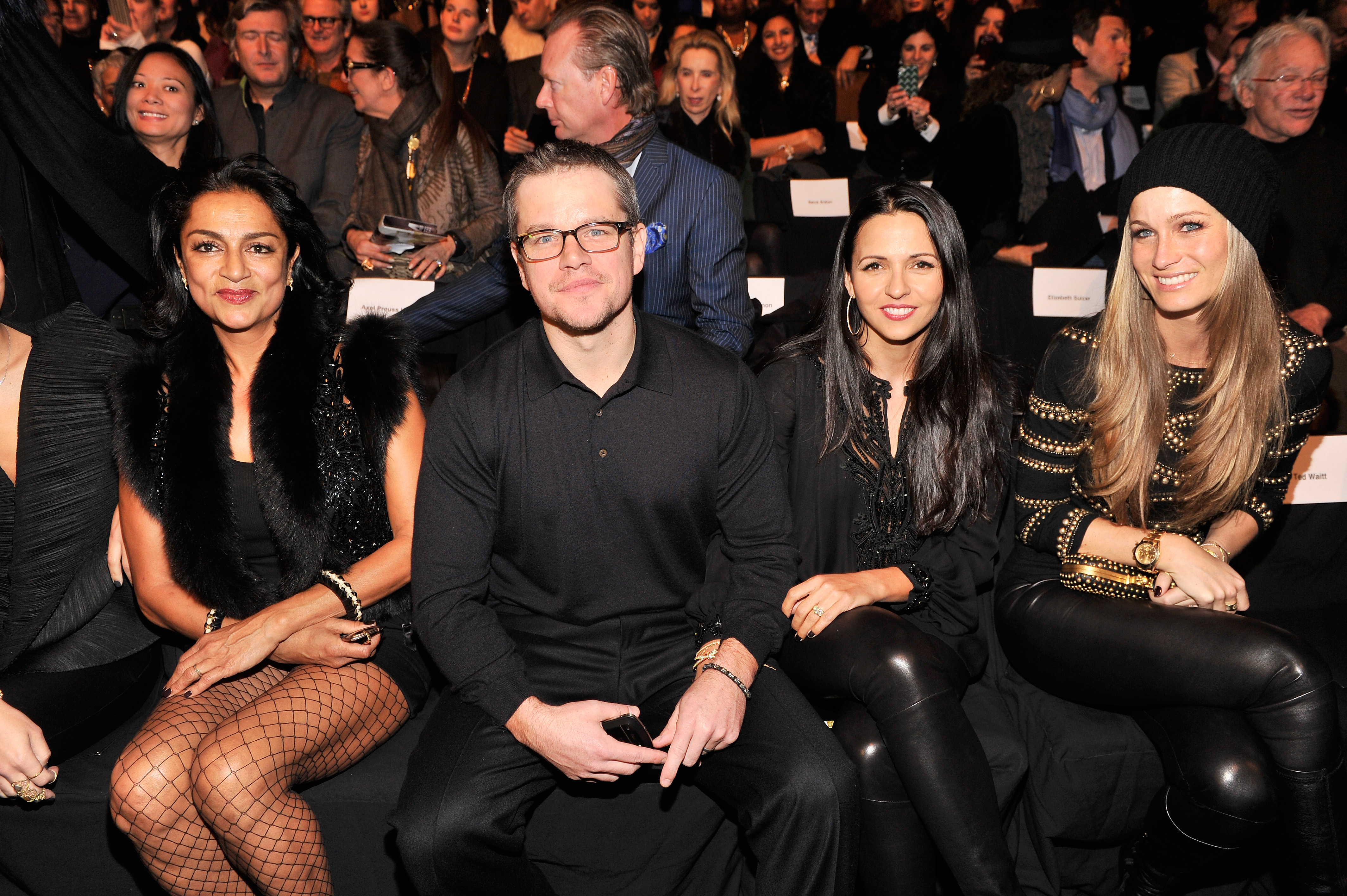 Matt and Luciana Damon sat front row during the Naeem Khan show at New York Fashion Week on Tuesday.