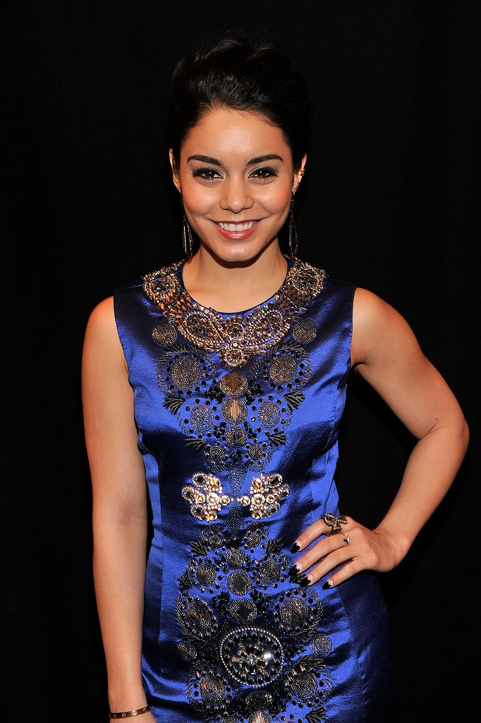 Vanessa Hudgens wore blue to the Naeem Khan show in NYC.