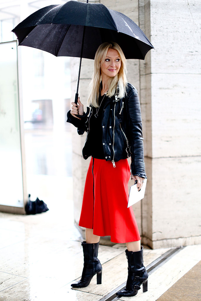 Marie Claire's Zanna Roberts Rossi mixed a bold red skirt with a cool-girl leather jacket and staple boots.