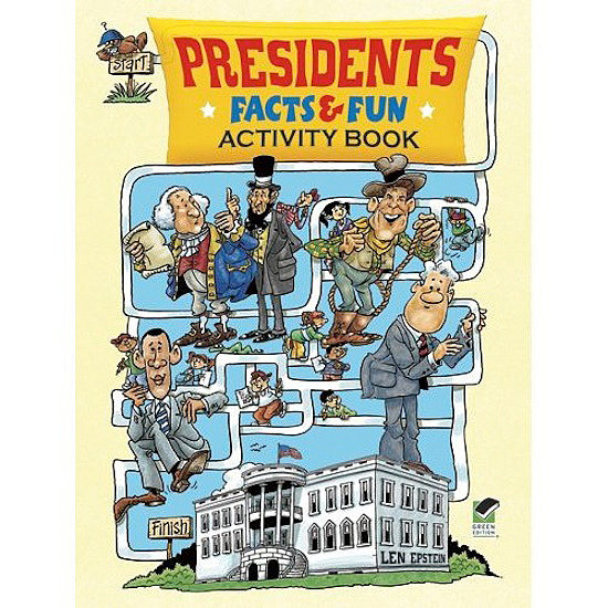 With more than 30 mazes, search puzzles, fun facts, and illustrations, this presidents activity book ($5) will enlist kids to find George Washington's false teeth and Barack Obama's lost basketball.