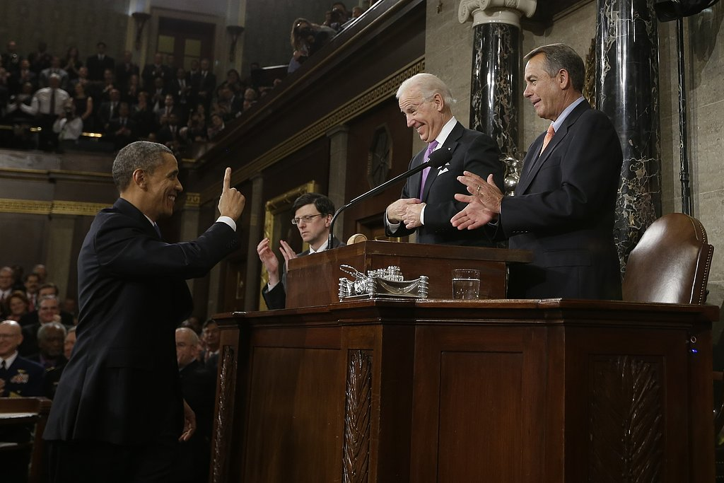 The president greeted Vice President Joe Biden and Speaker John Boehner.