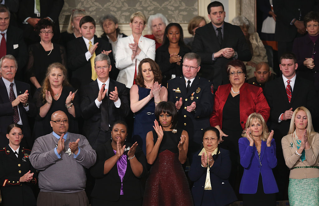 First Lady Michelle Obama applauded just a seat away from Dr. Jill Biden.