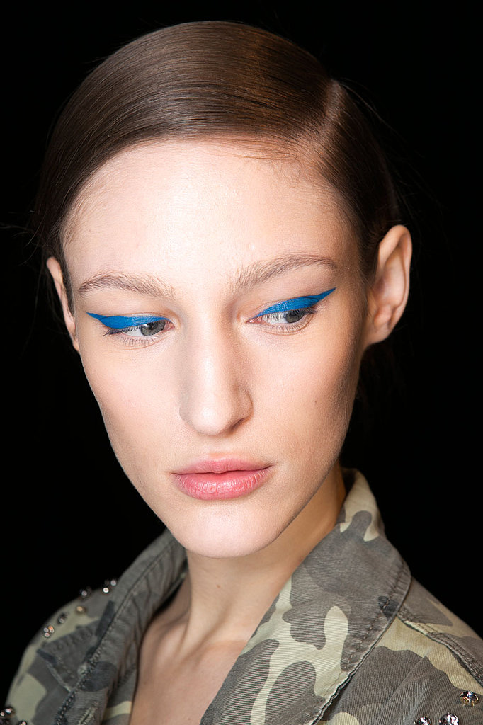 The color Pinault chose was Stila's Indigo. The rest of the look was kept natural and soft, with just a swipe of Stila's Dolce Lipstick to pull it all together. Lashes and brows were left bare.