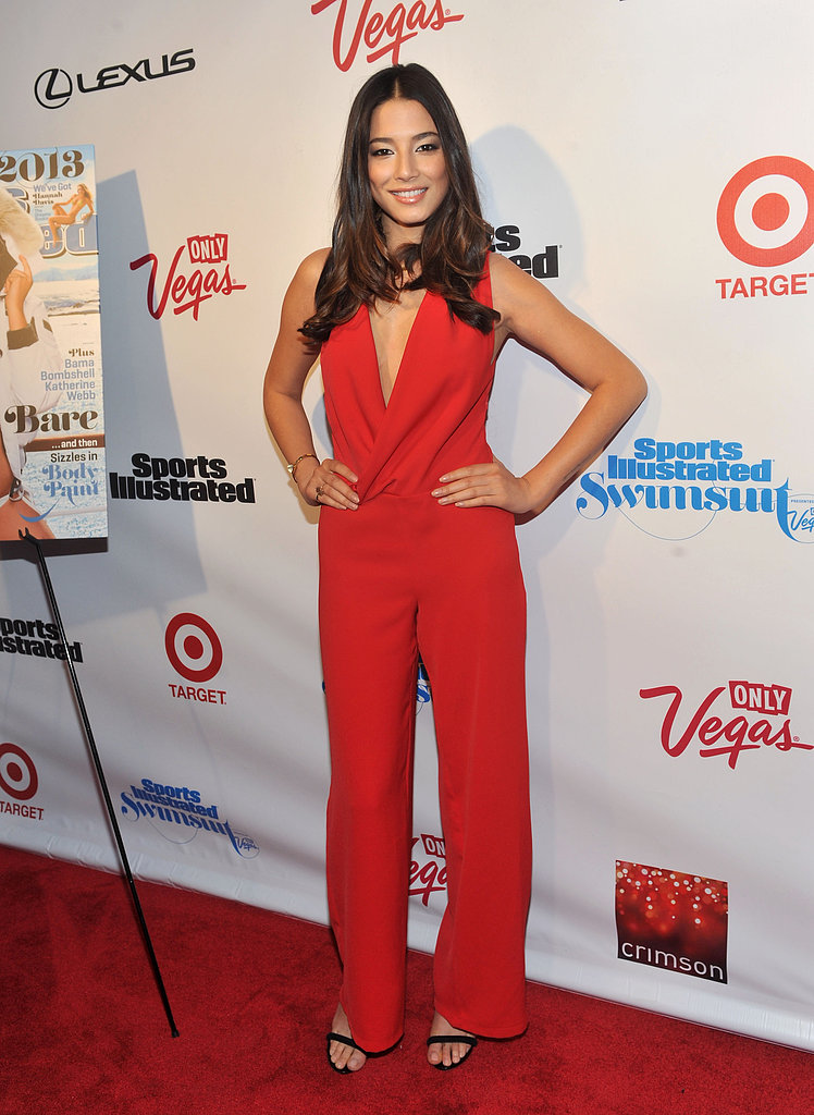 Jessica Gomes wore a red pantsuit.