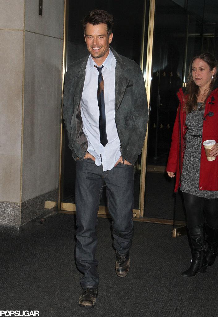 Josh Duhamel made several press visits yesterday.