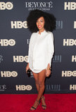 Solange Knowles wore a short white shirt to her sister's premiere.