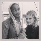 Happy Endings couple Eliza Coupe and Damon Wayans Jr. shared a handhold. Source: Instagram user elizamuthafuckincoupe