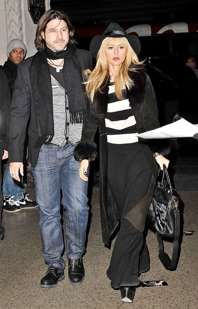 Rachel Zoe, with husband Rodger in tow, showed off chic stripes and her signature boho-inspired style.