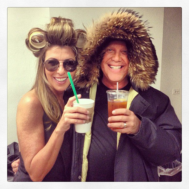 Nina Garcia and Michael Kors sipped their caffeinated drinks while getting prepped to shoot Project Runway. Source: Twitter user ninagarcia