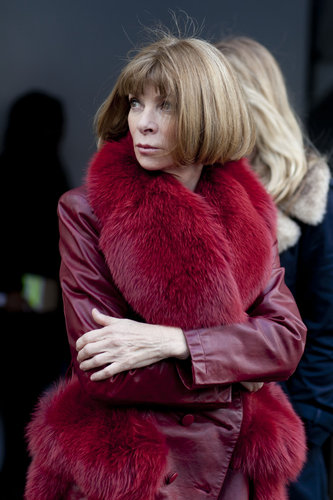 Anna Wintour in an enviable burgundy-hued fur.