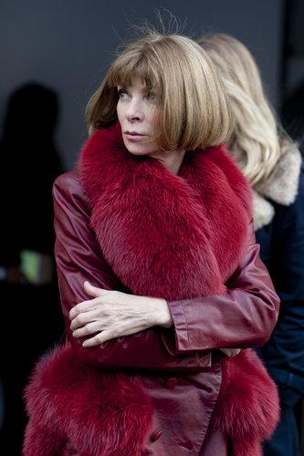 Anna Wintour in an enviable burgundy-hued fur.