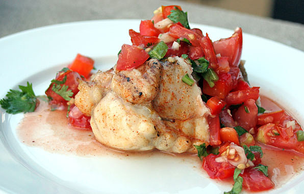 Grilled Monkfish and Tomato Salsa