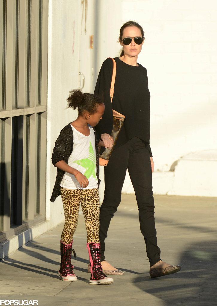 Angelina Jolie held Zahara Jolie-Pitt's hand for a shopping trip in LA.