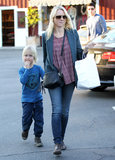 Naomi Watts had Sasha Schreiber by her side in LA's Brentwood neighborhood.
