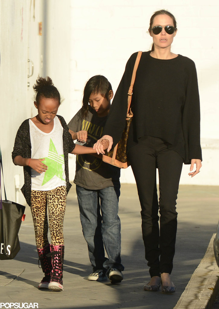 Angelina Shops With Zahara and Pax and Announces a New Wine Label