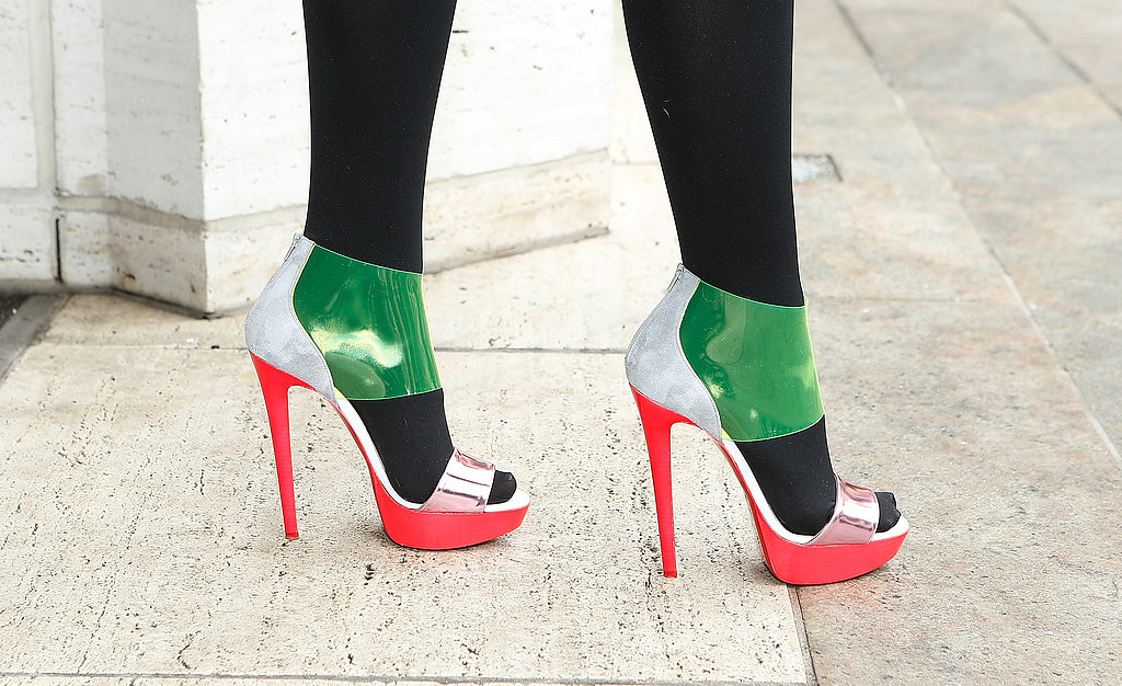 High-wattage colorblocked Louis Vuitton platforms were made more wearable with black tights.