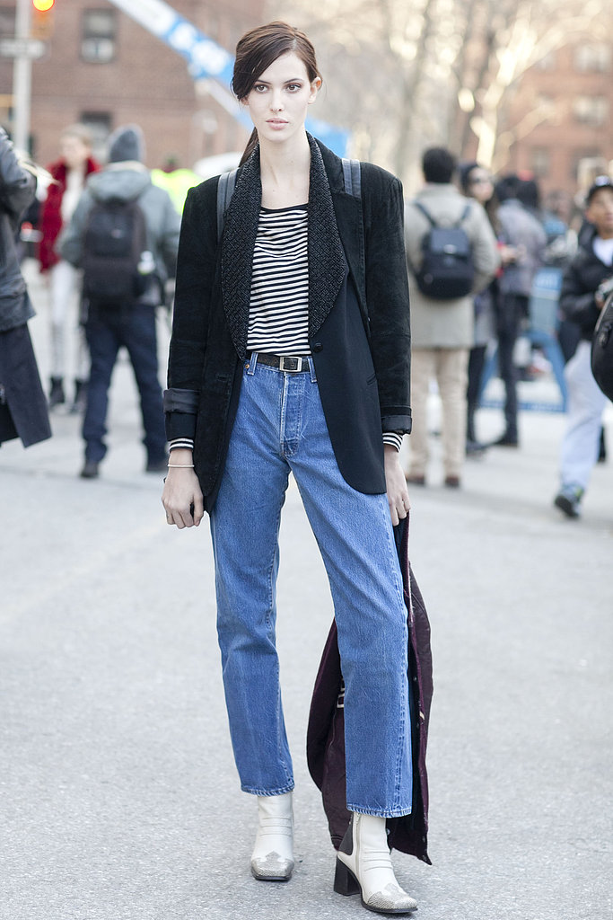 Ruby Aldridge took the Parisian-chic route in stripes and understated denim.