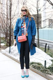 Our fashion and beauty director, Melissa Liebling-Goldberg, styled bright outerwear, pops of print, and a sweet crossbody bag all in just the right doses.