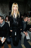 Rachel Zoe went black on black in a sequined moto jacket and velvet trousers at Proenza Schouler.