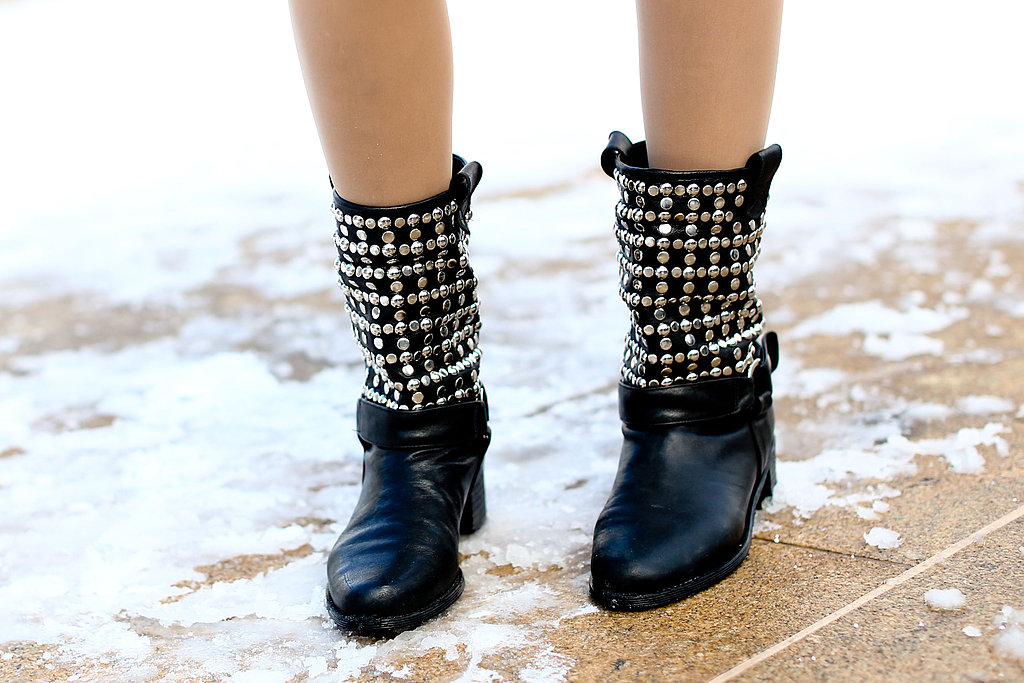 Biker boots with glamorous, embellished detailing.
