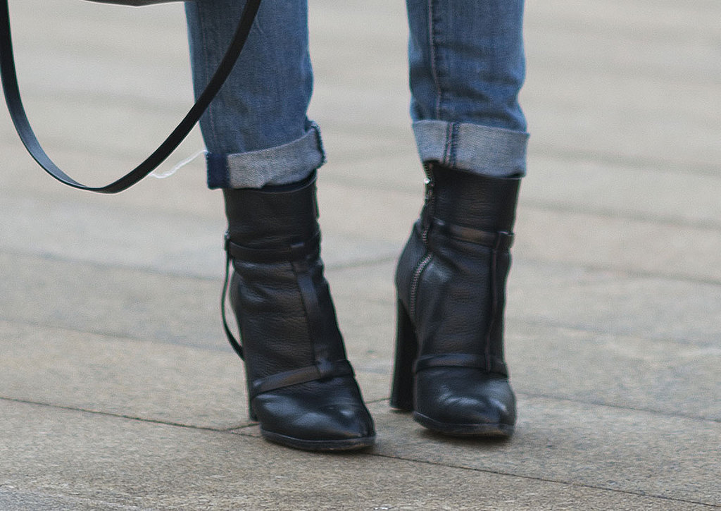 Maria Duenas showed off the cool-girl Winter essential — black booties.