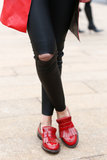 We adore the punk appeal of these patent red brogues.