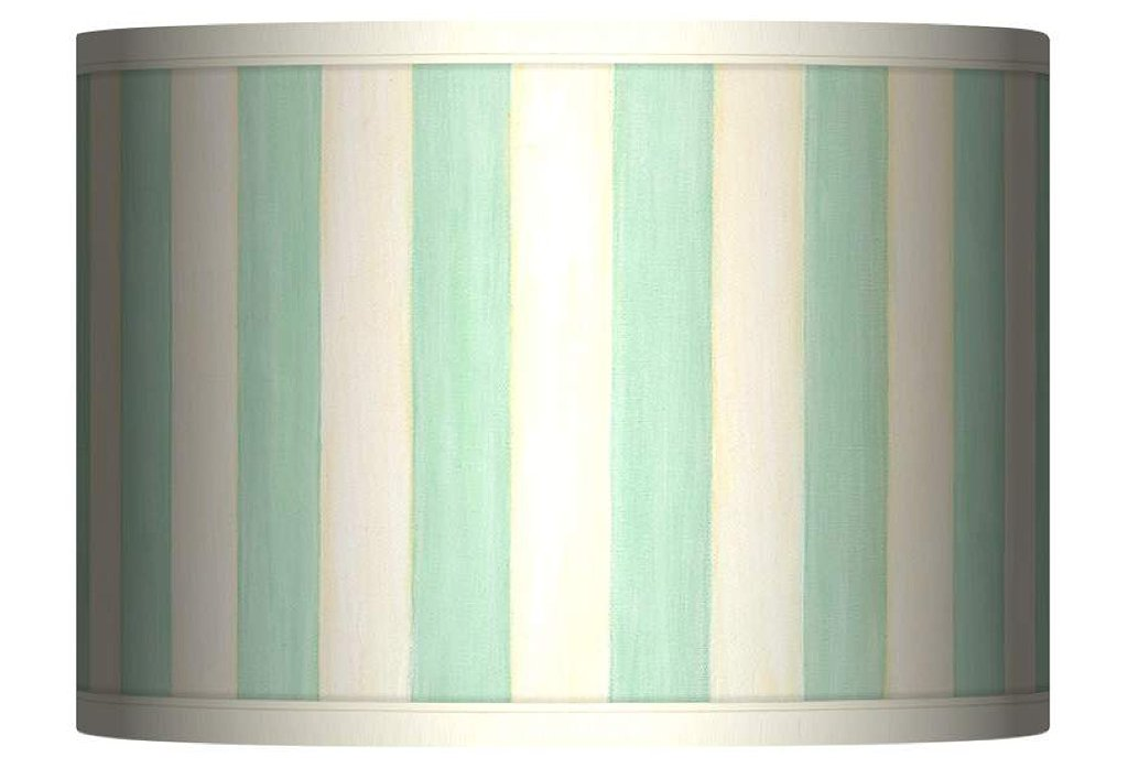 The mint color of this  striped giclee drum shade ($70) is perfect for the upcoming Spring.