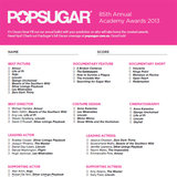 2013 Oscars Printable Ballot to Download and Share