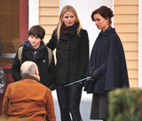 Jennifer Morrison shot a Once Upon a Time scene with Keegan Connor Tracy and Jared Gilmore in Vancouver on Wednesday.