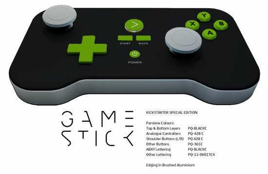 The GameStick will eventually be available with a Kickstarter special-edition colored body and brushed aluminum edging.
