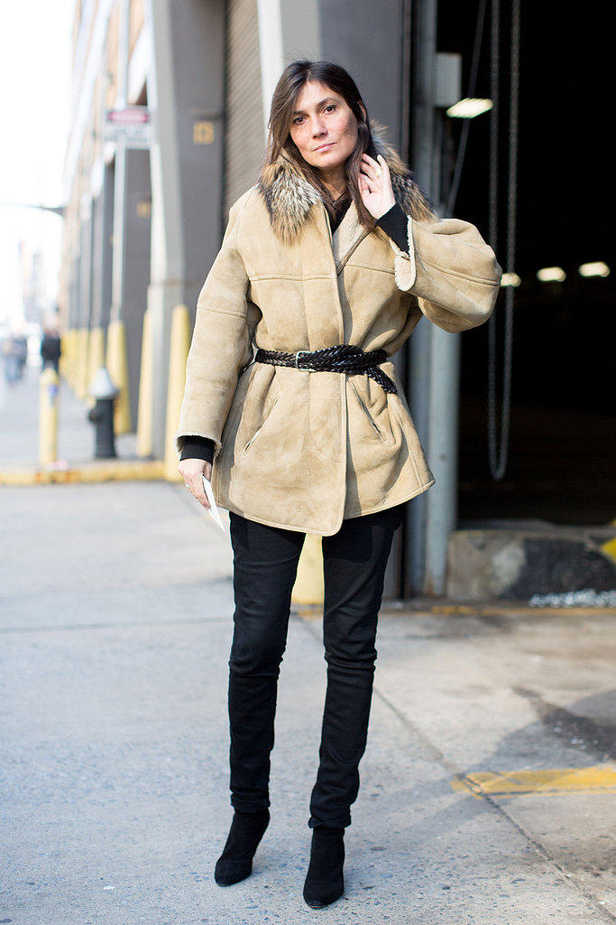 Emmanuelle Alt didn't complicate her Winter look — just showcased a great piece of suede outerwear against understated black pants.
