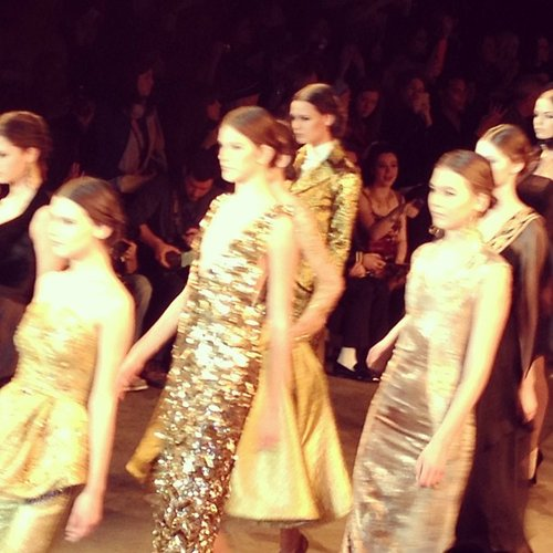 An army of gold at Christian Siriano's Russian-opera-themed collection.