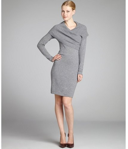 CeCe fog grey wool-cashmere shawl collar sweater dress