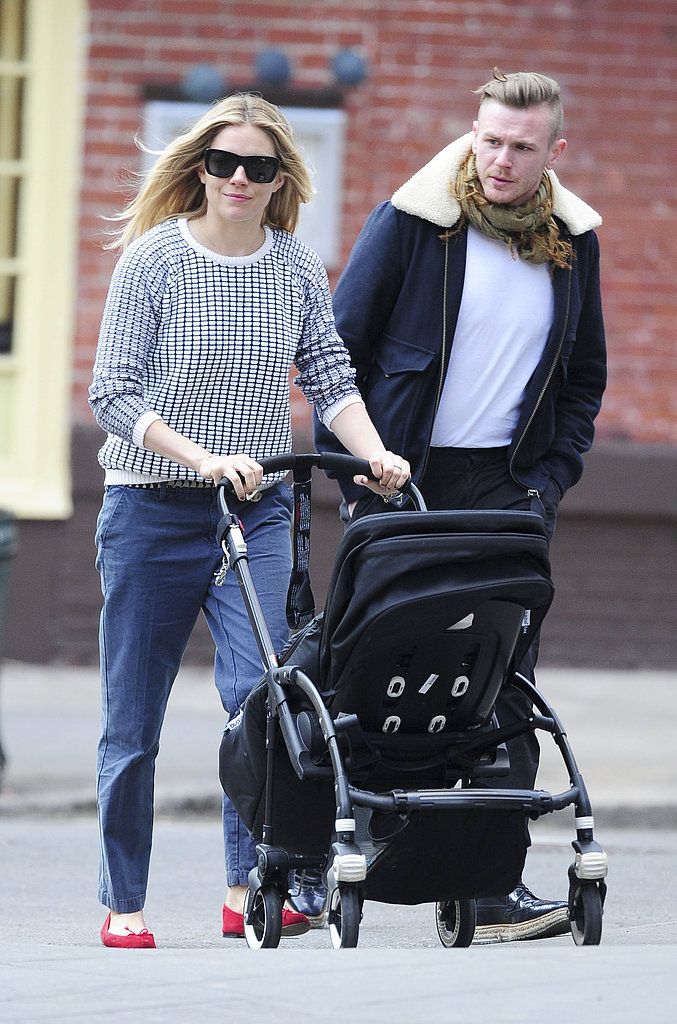 Sienna Miller was accompanied by a friend as she took Marlowe for a walk in NYC.
