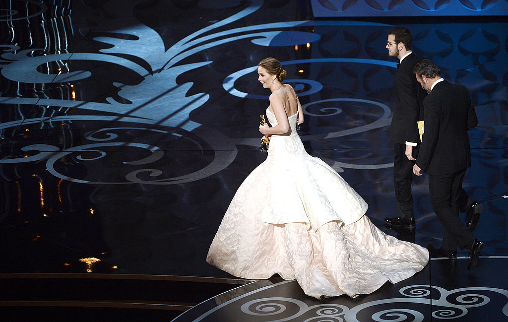 Jennifer Lawrence left the stage after winning best actress.