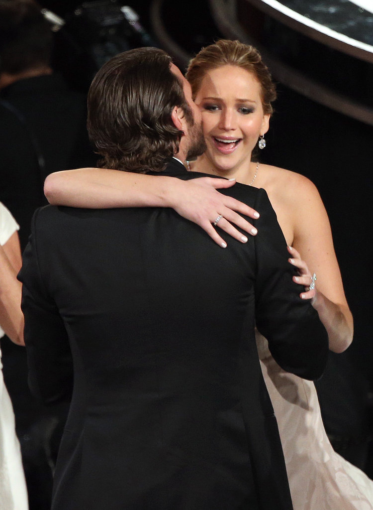 Jennifer Lawrence and Bradley Cooper embraced at the 2013 Academy Awards after she won the Oscar for best actress.