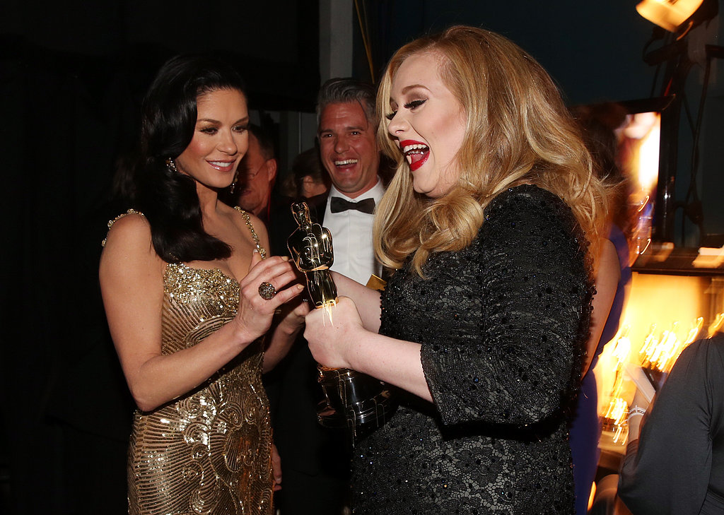 Catherine Zeta-Jones, Paul Epworth and Adele gathered backstage at the Oscars.