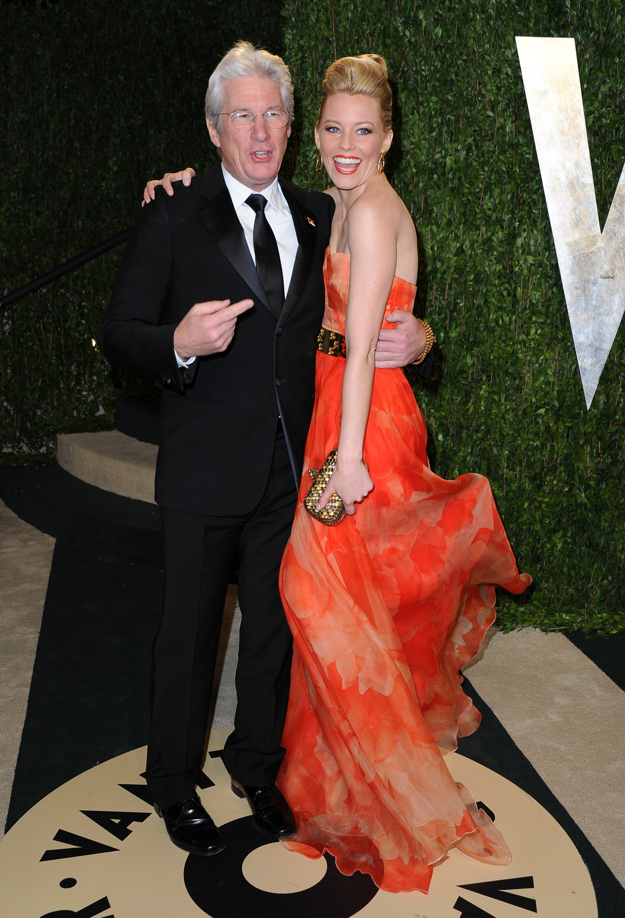 Richard Gere and Elizabeth Banks arrived at the Vanity Fair Oscar party on Sunday night.