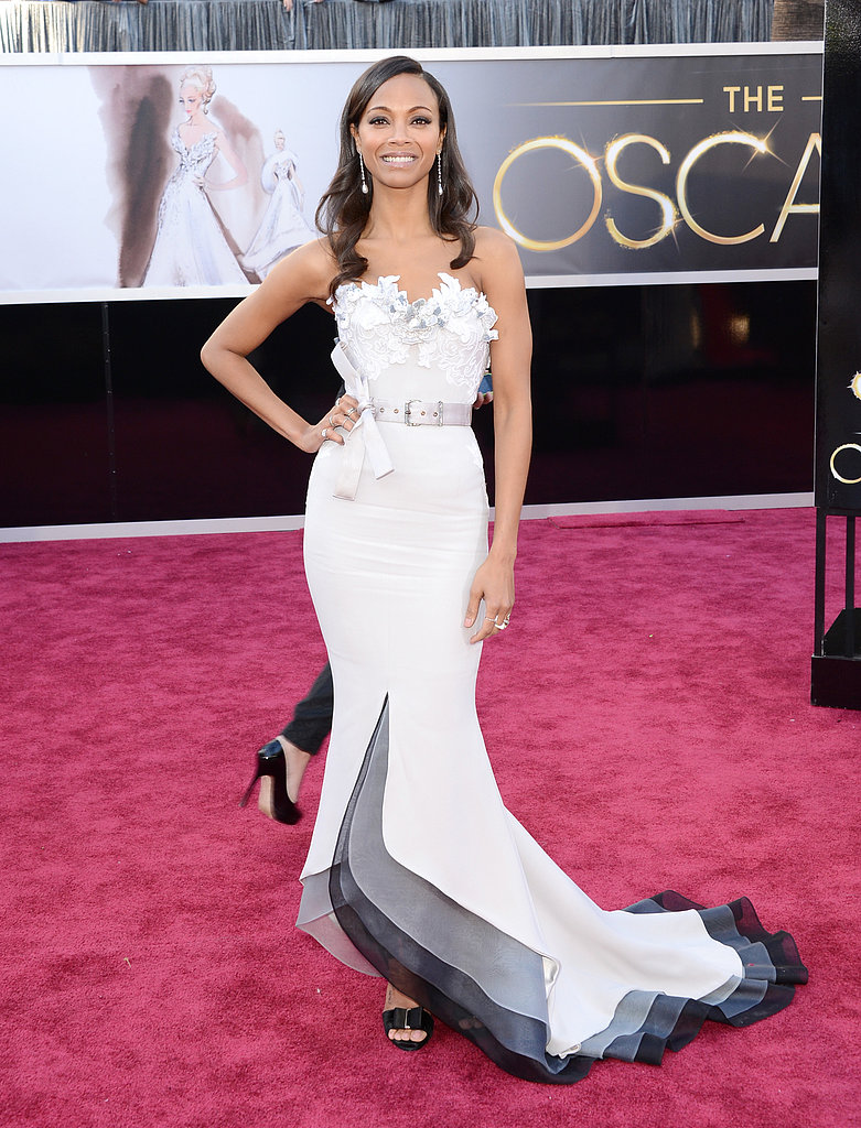 Zoe Saldana smiled in a Alexis Mabille gown at the Oscars.