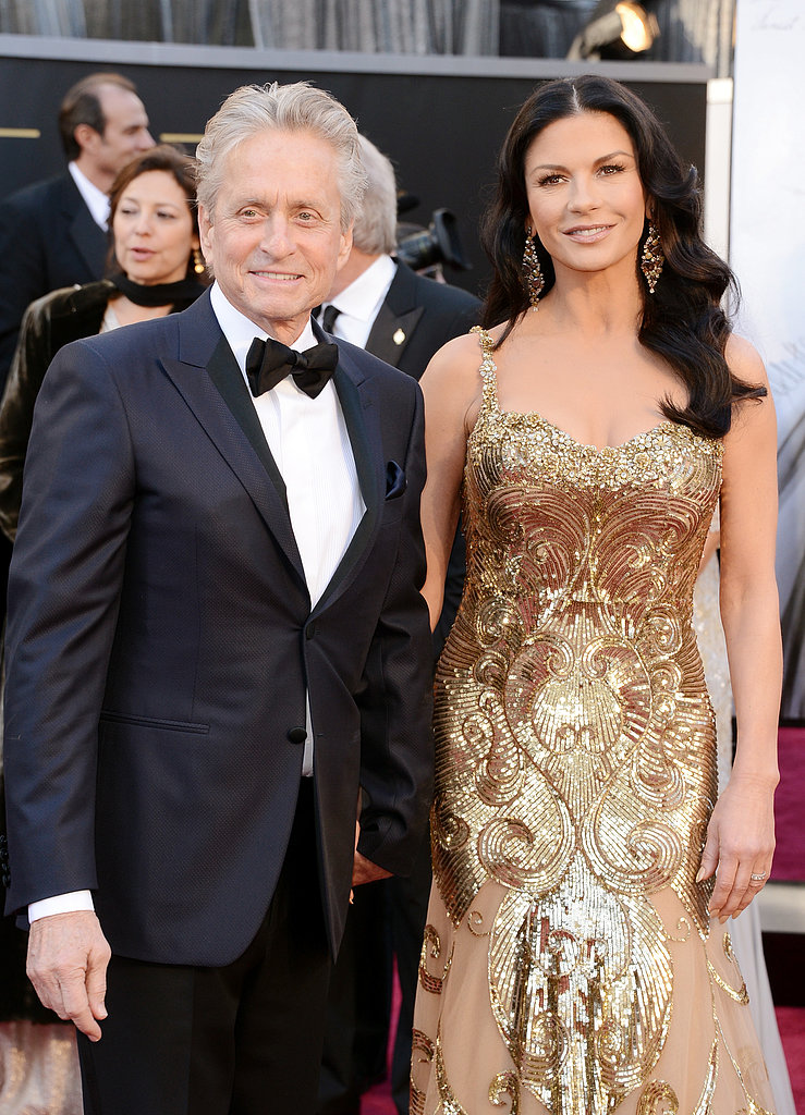 Catherine Zeta-Jones and Michael Douglas were hand in hand on the Oscars red carpet.