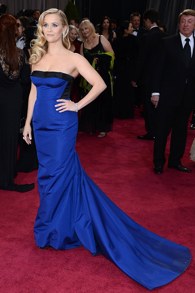 Reese Witherspoon showed off the train on her blue Louis Vuitton gown.