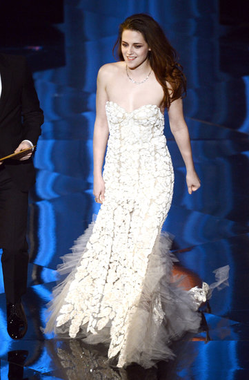 Kristen Stewart on stage at the Oscars 2013.