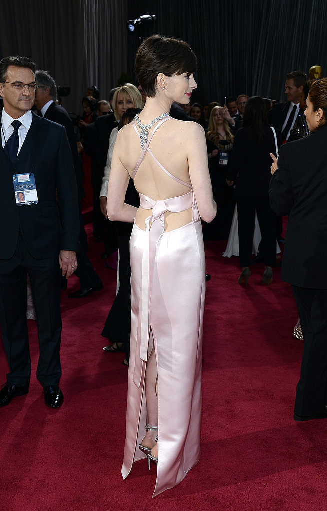 Anne Hathaway on the red carpet at the Oscars 2013.