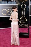 Anne Hathaway Goes Retro in Ladylike Pink Prada