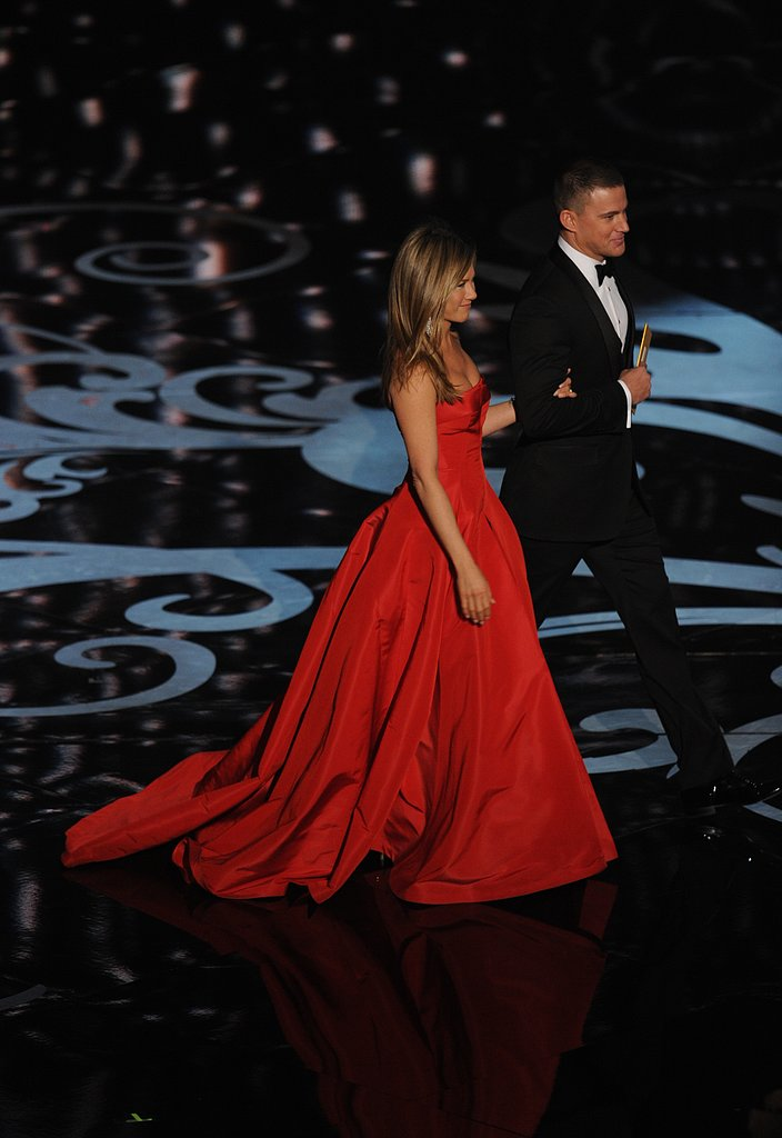 Jennifer Aniston and Channing Tatum on stage at the Oscars 2013.